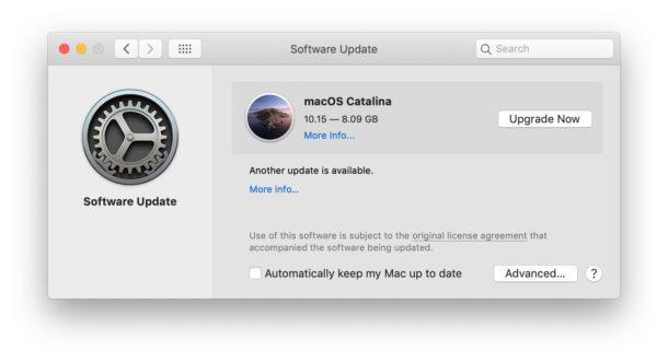 MacOS Catalina показывается как доступное обновление