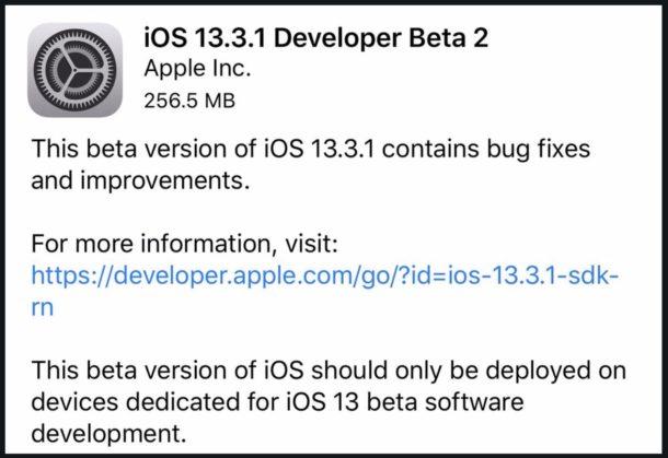 iOS 13.3.1 beta 2 скачать