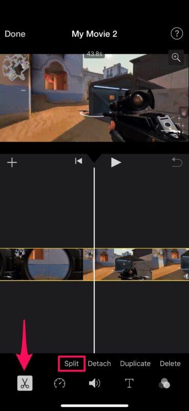 Как удалить среднюю часть видео на iPhone и iPad с помощью iMovie
