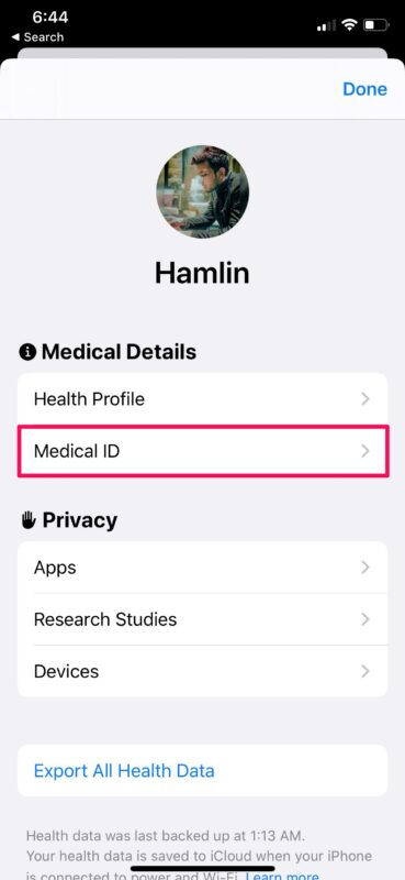 Как автоматически поделиться своим медицинским идентификатором во время вызова службы экстренной помощи с iPhone