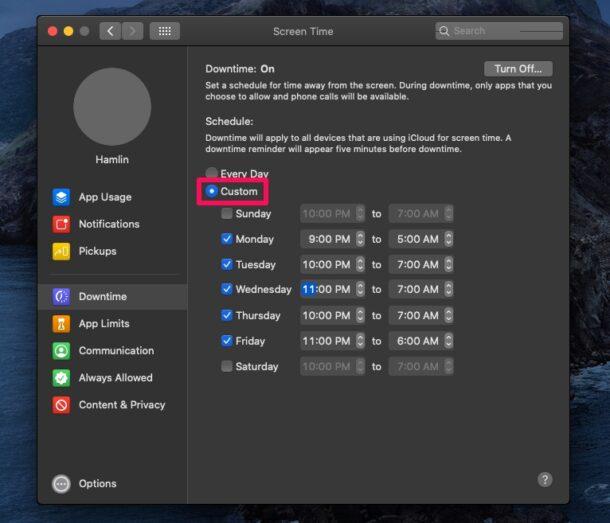 Как запланировать время простоя на Mac