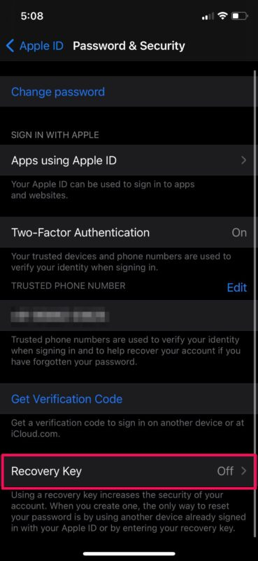 How to Create an Apple ID Recovery Key