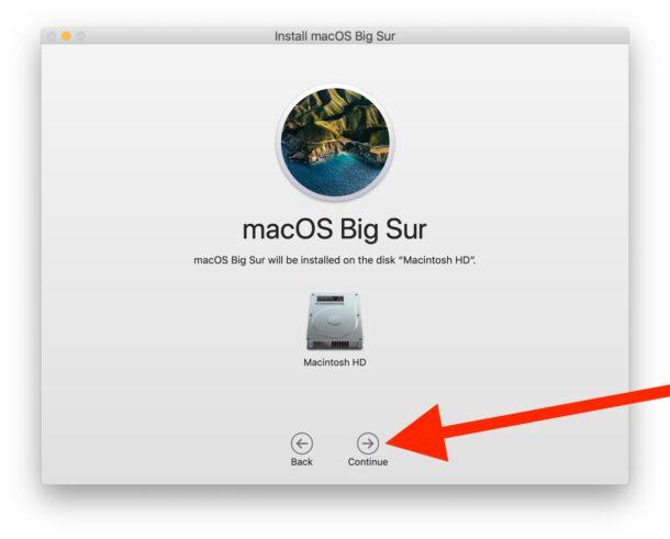 Выберите целевой диск и установите macOS Big Sur
