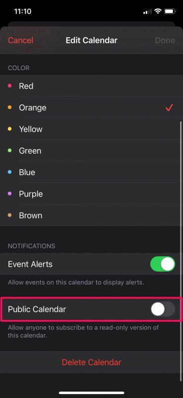 Как сделать календарь общедоступным на iPhone и iPad