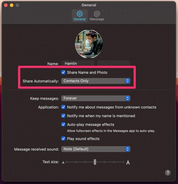 Как поделиться именем профиля и изображением в сообщениях для Mac