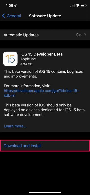 Как установить бета-версию iOS 15 Developer на iPhone