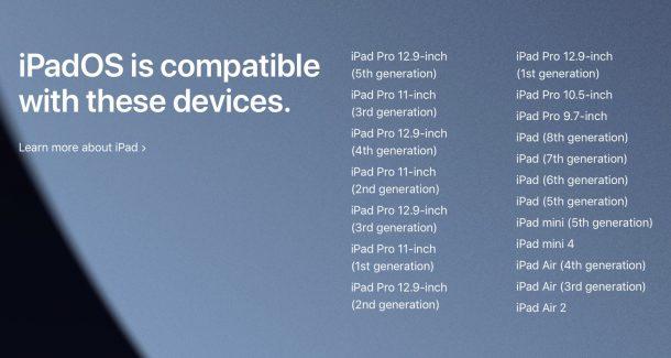 список iPad, совместимых с ipadOS 15