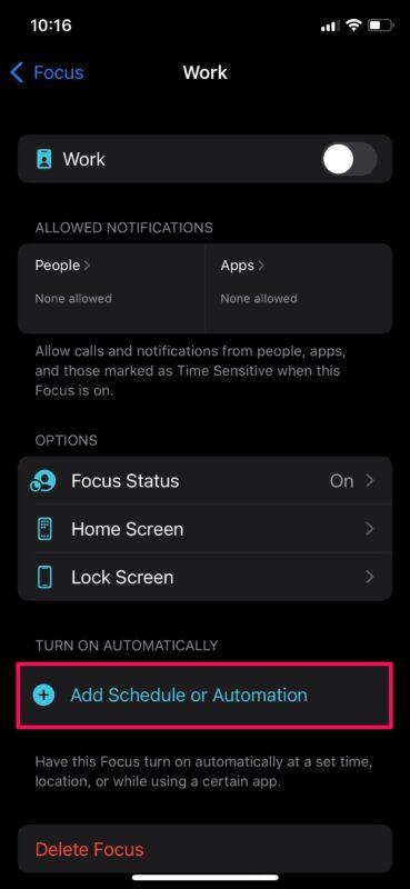Планирование режима фокусировки на iPhone