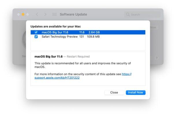 macOS Big Sur 11.6 обновить