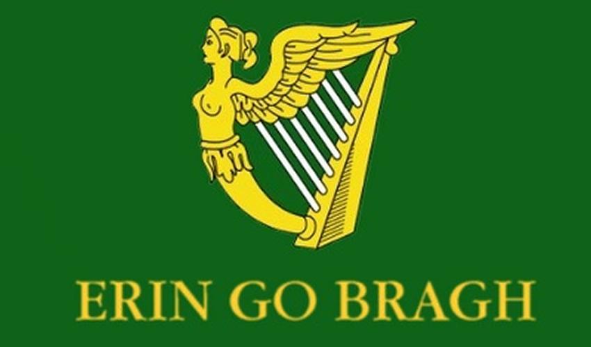 """Bandera del batallón de San Patricio: """"Irlanda por Siempre"""""""
