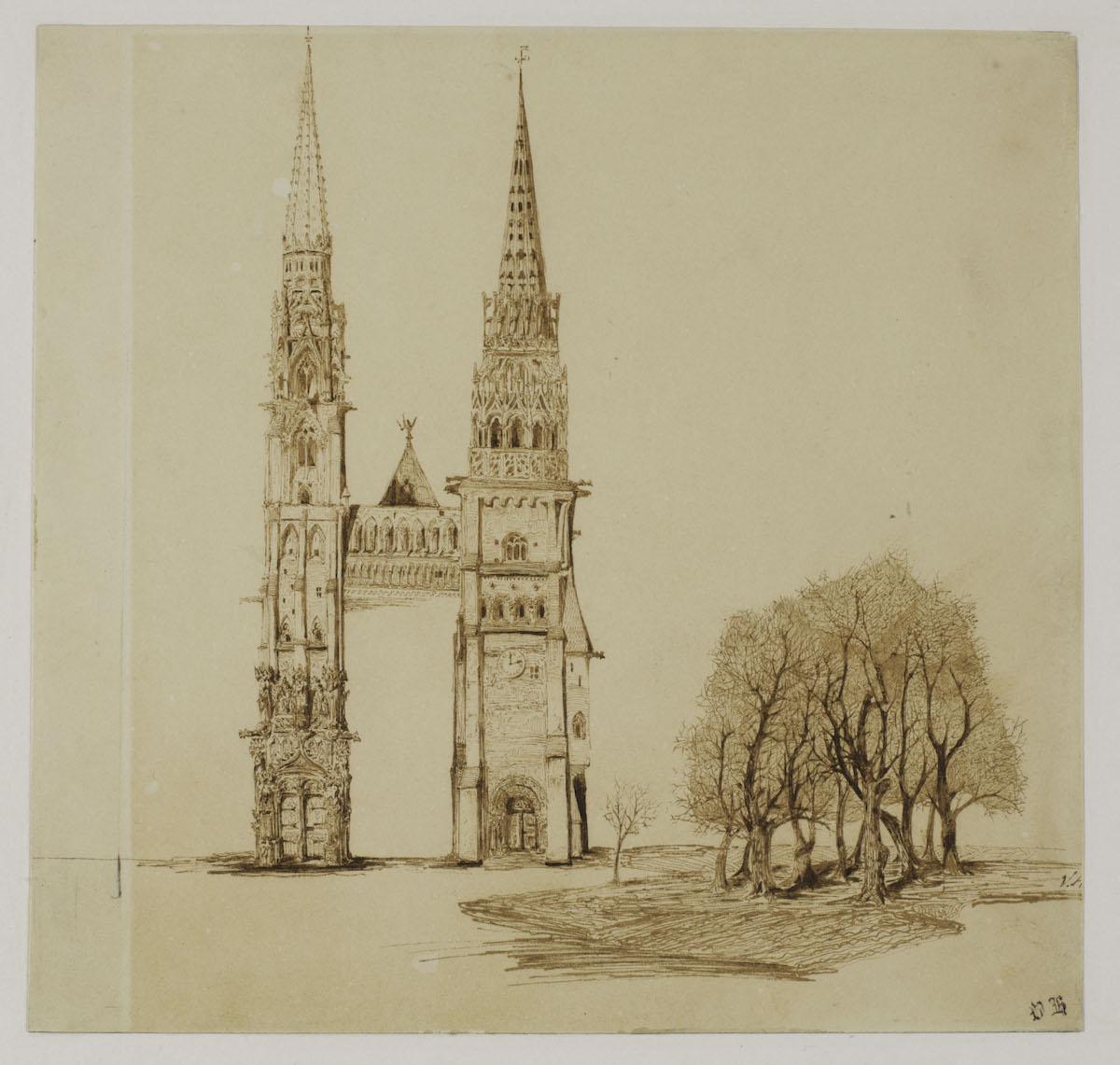 Tours et flèches d une cathédrale gothique
