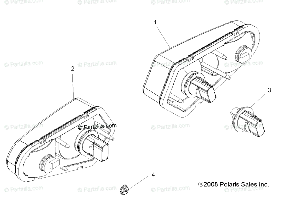 Polaris Atv Oem Parts Diagram For Electrical Taillights