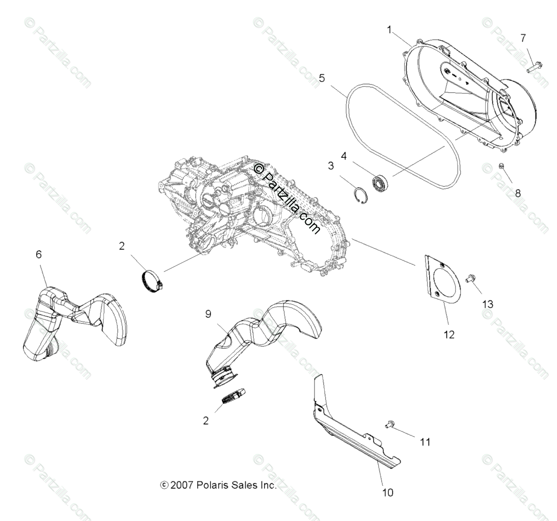 Polaris Atv Oem Parts Diagram For Body Clutch Cover