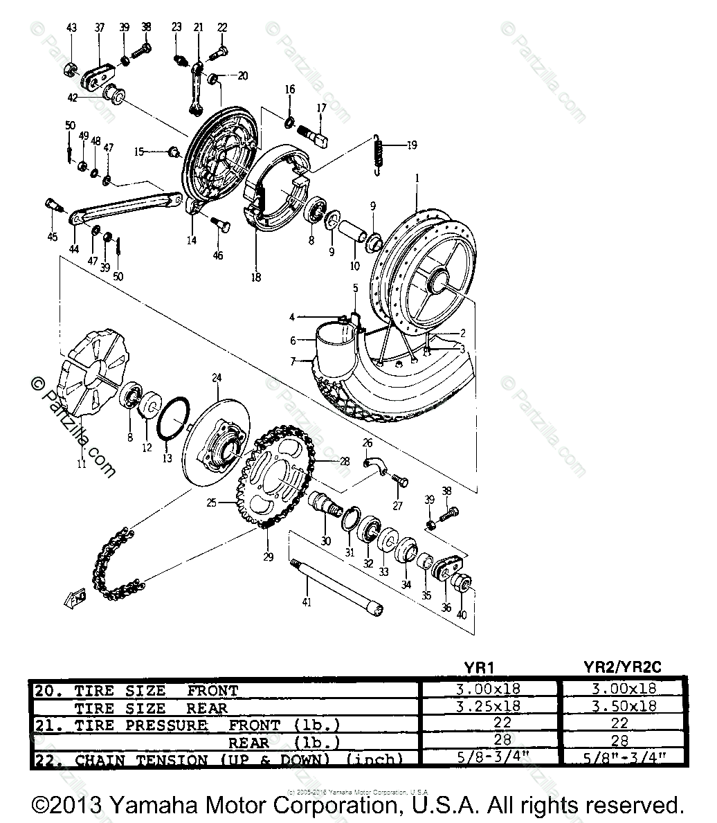 Yamaha Motorcycle Oem Parts Diagram For Rear Wheel