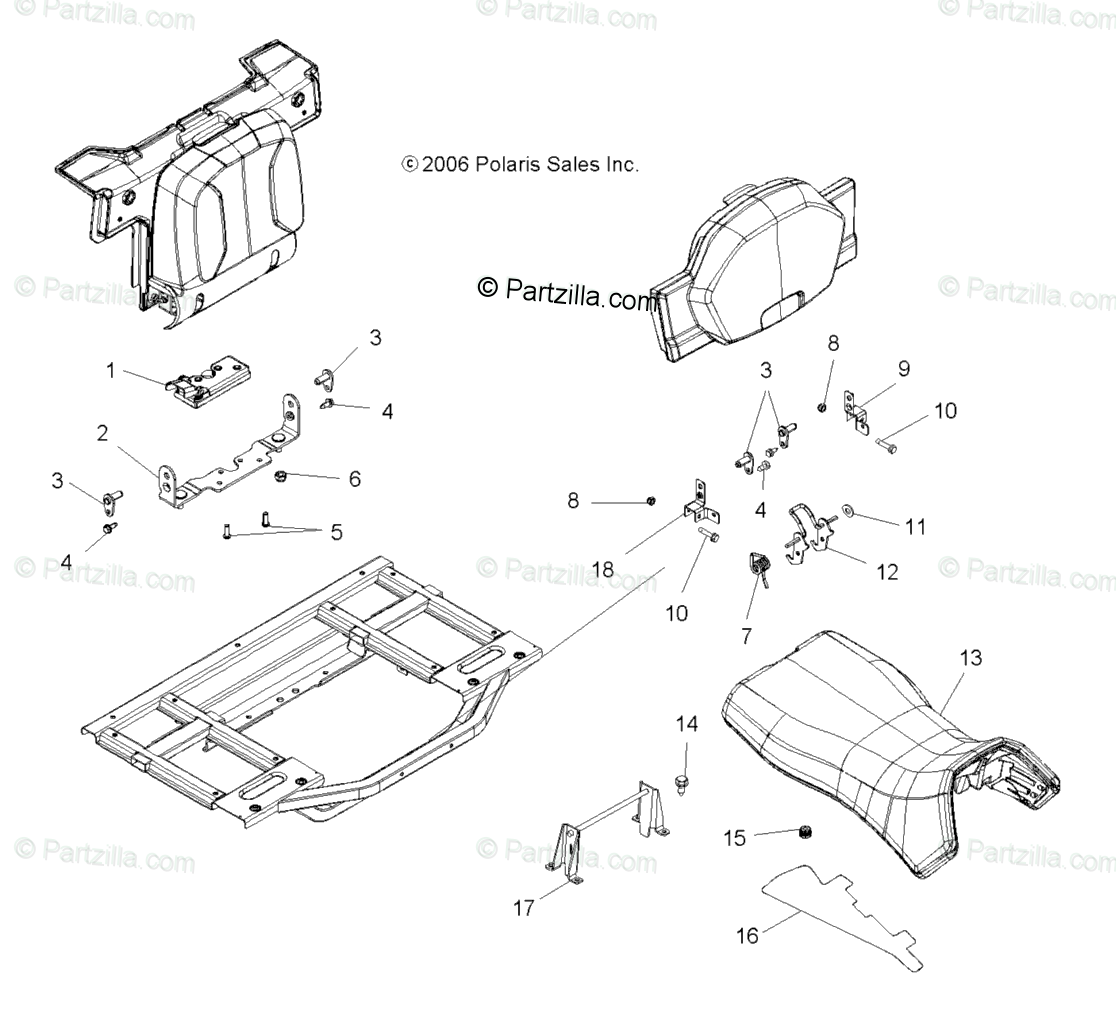 Polaris Atv Oem Parts Diagram For Seats