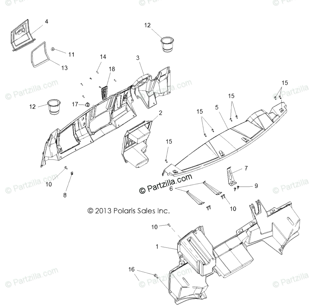 Polaris Side By Side Oem Parts Diagram For Body Dash
