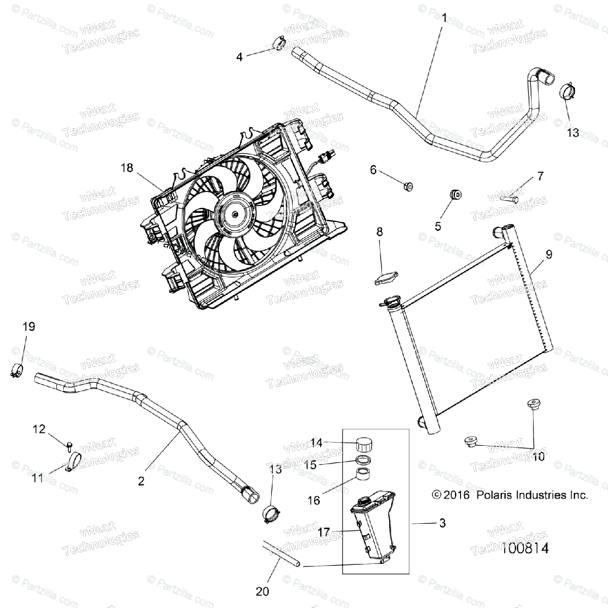 Polaris Atv Oem Parts Diagram For Engine Cooling