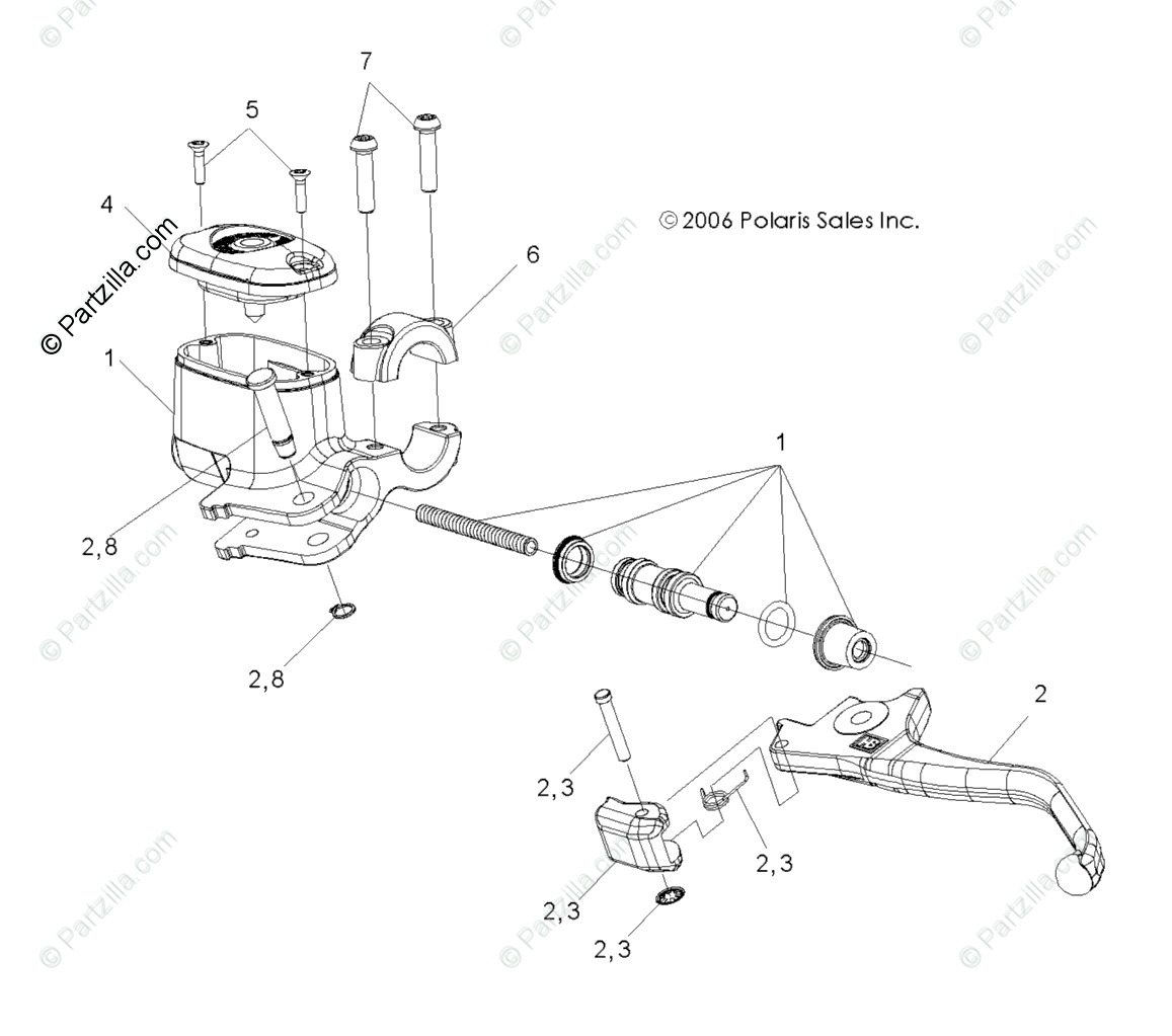Polaris Atv Oem Parts Diagram For Brake Hand