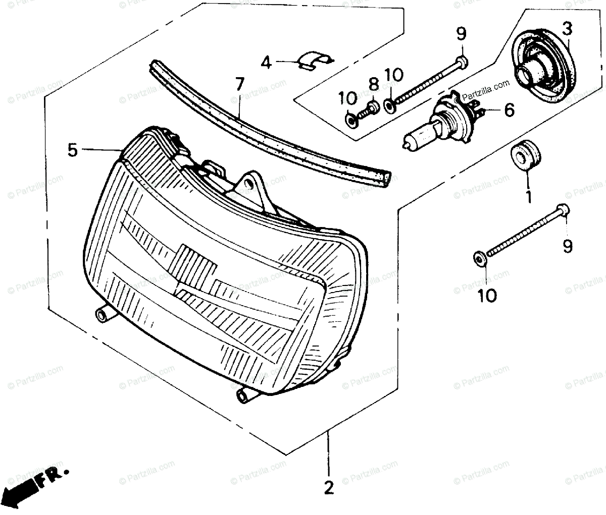 Honda Motorcycle Oem Parts Diagram For Headlight