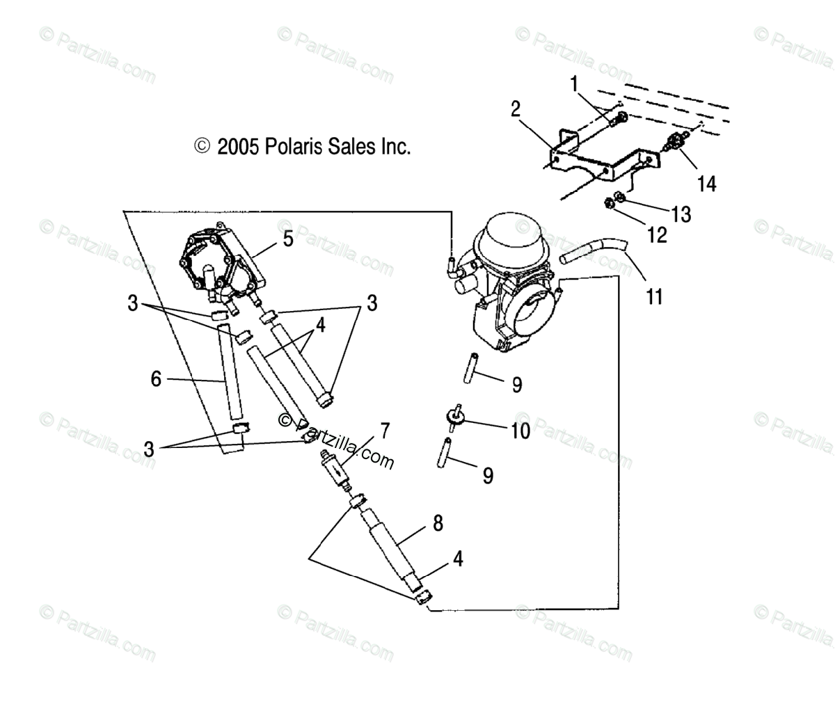 Polaris Atv Oem Parts Diagram For Carburetor Mounting