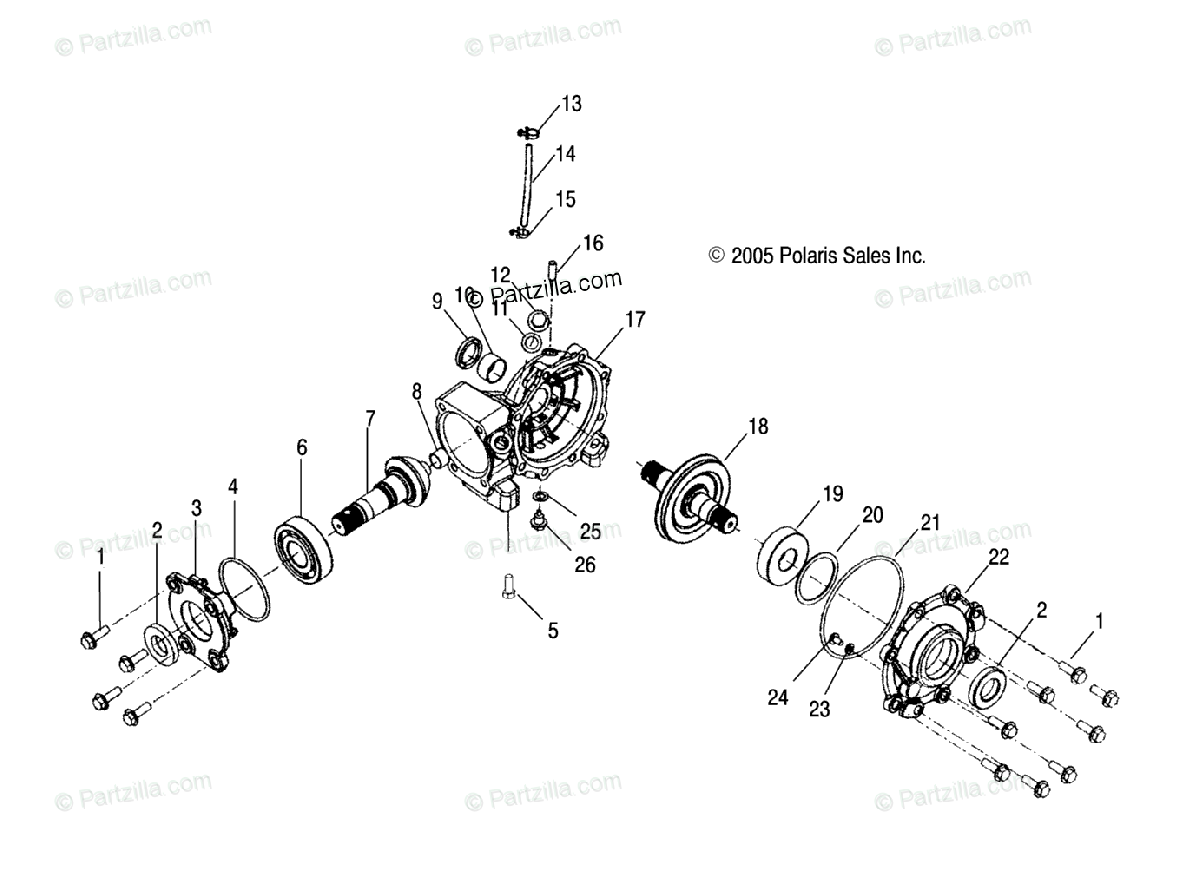 Polaris Atv Oem Parts Diagram For Housing Front Fa
