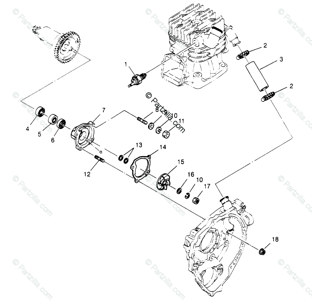 Polaris Atv Oem Parts Diagram For Water Pump 4x4 400l