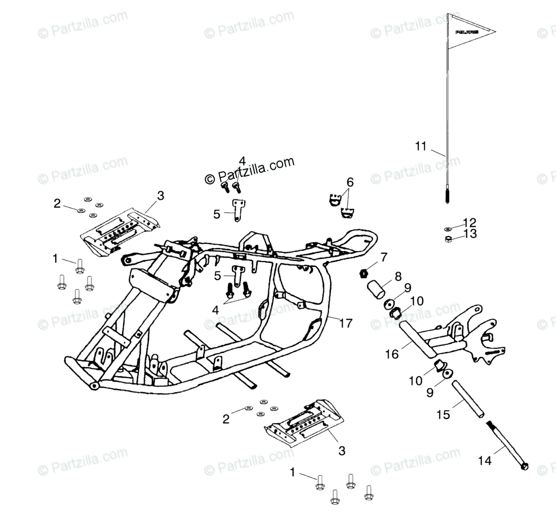 Polaris Atv Oem Parts Diagram For Frame Body