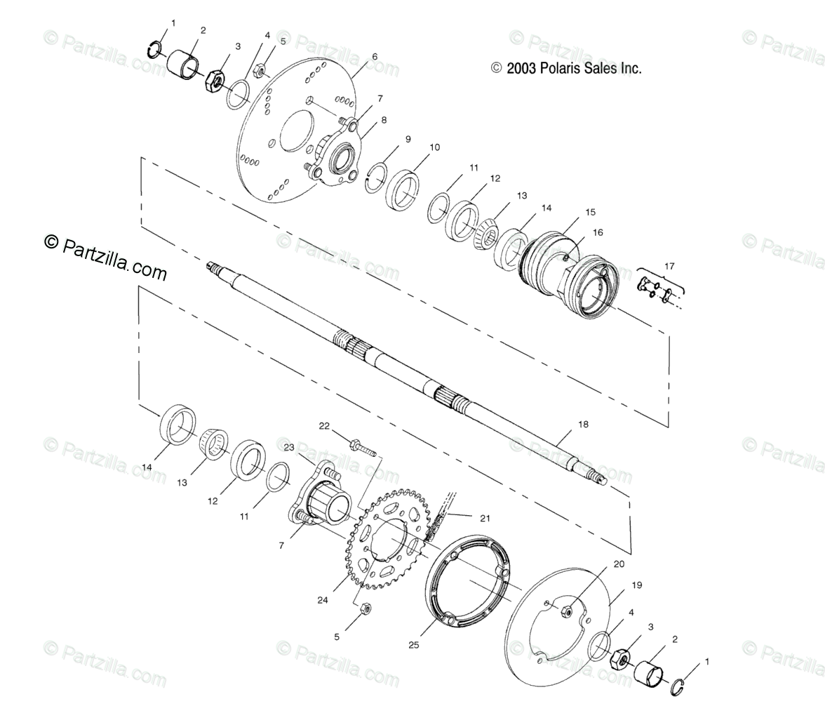 Polaris Atv Oem Parts Diagram For Rear Housing