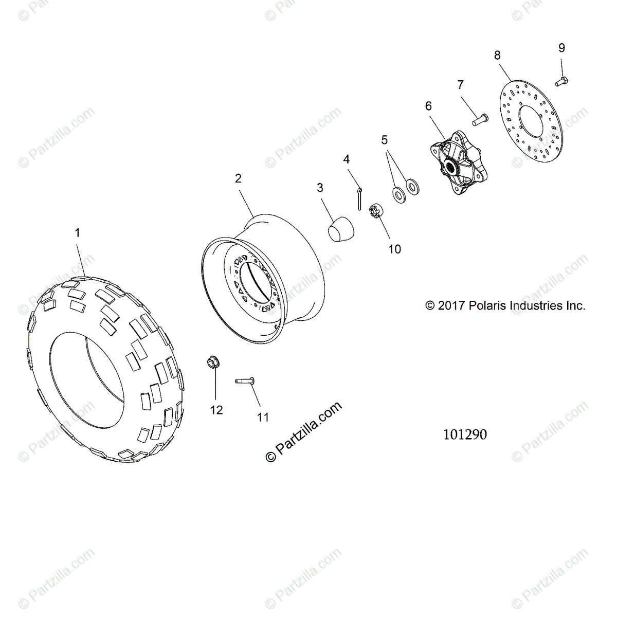 Polaris Atv Oem Parts Diagram For Wheels Front Tire