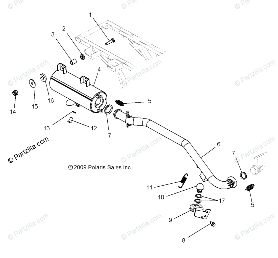 Polaris Atv Oem Parts Diagram For Engine Exhaust