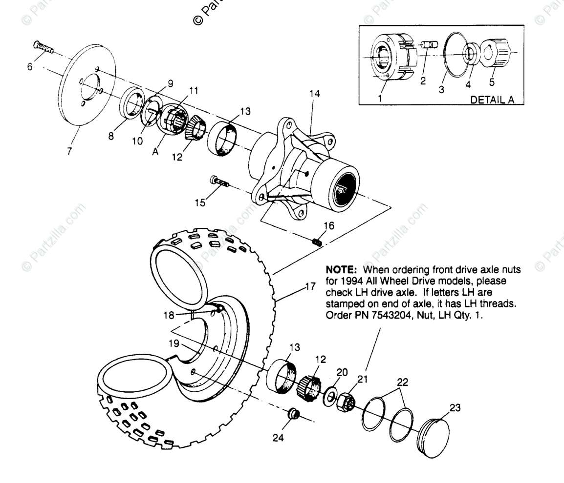 Polaris Atv Oem Parts Diagram For Front Wheel