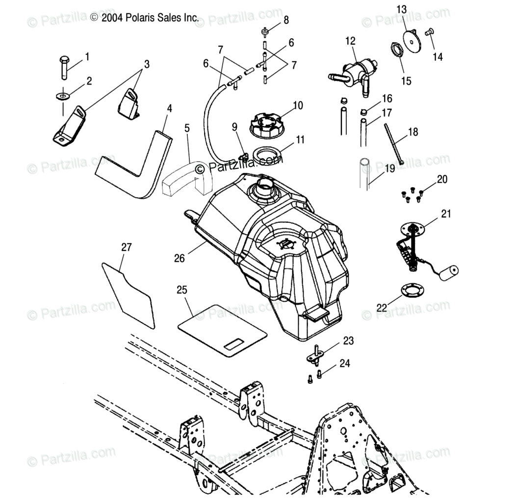 Polaris Atv Oem Parts Diagram For Fuel Tank