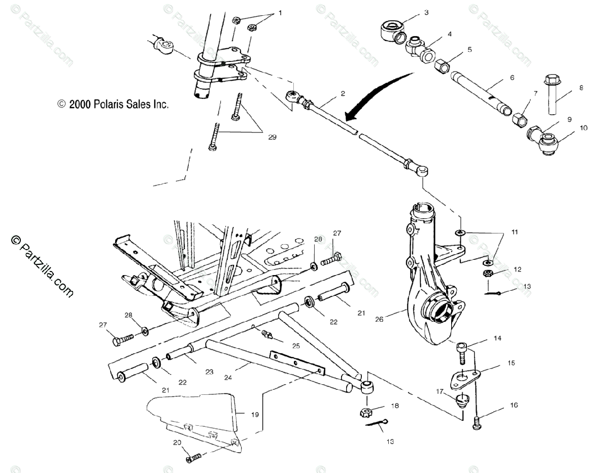 Polaris Atv Oem Parts Diagram For Aarm Strut Mounting