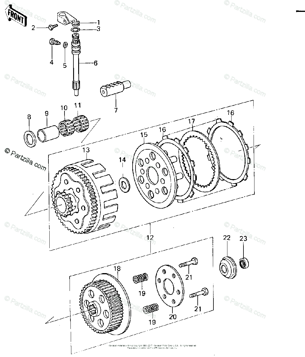 Kawasaki Motorcycle Oem Parts Diagram For Clutch 78
