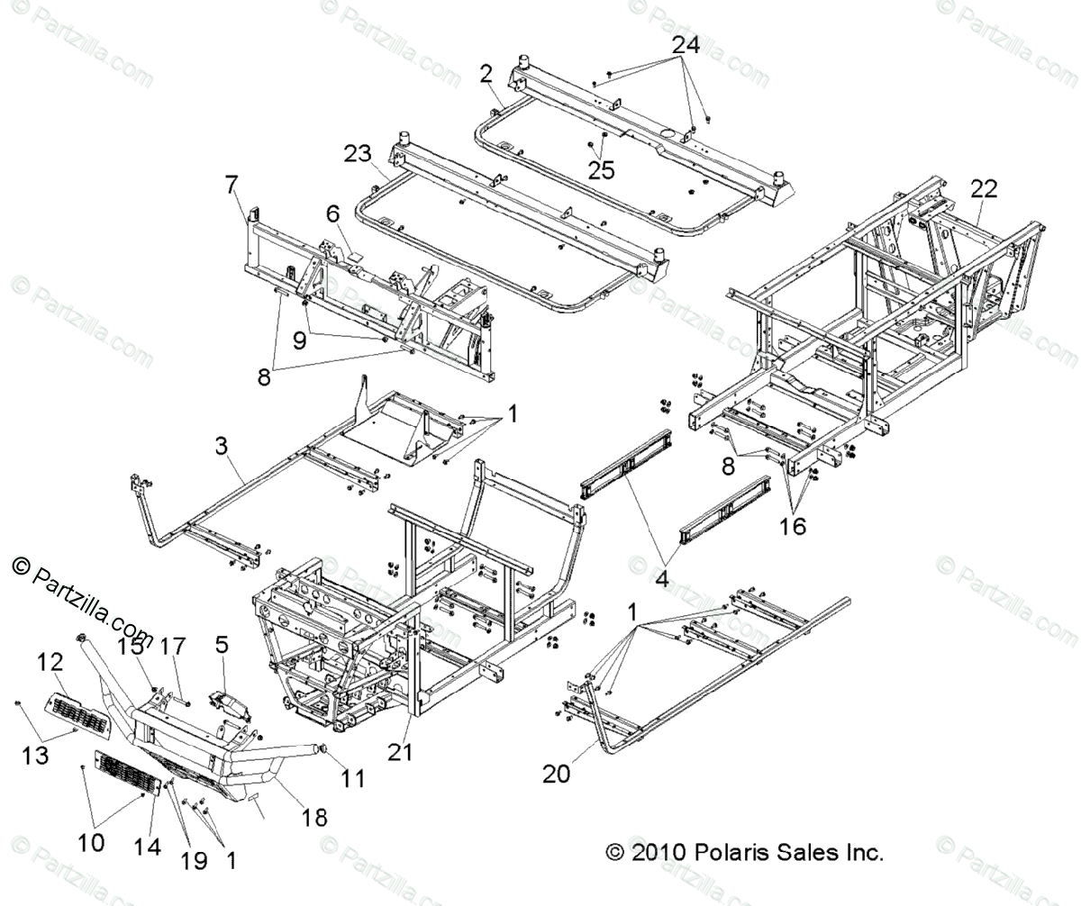 Polaris Side By Side Oem Parts Diagram For Chassis