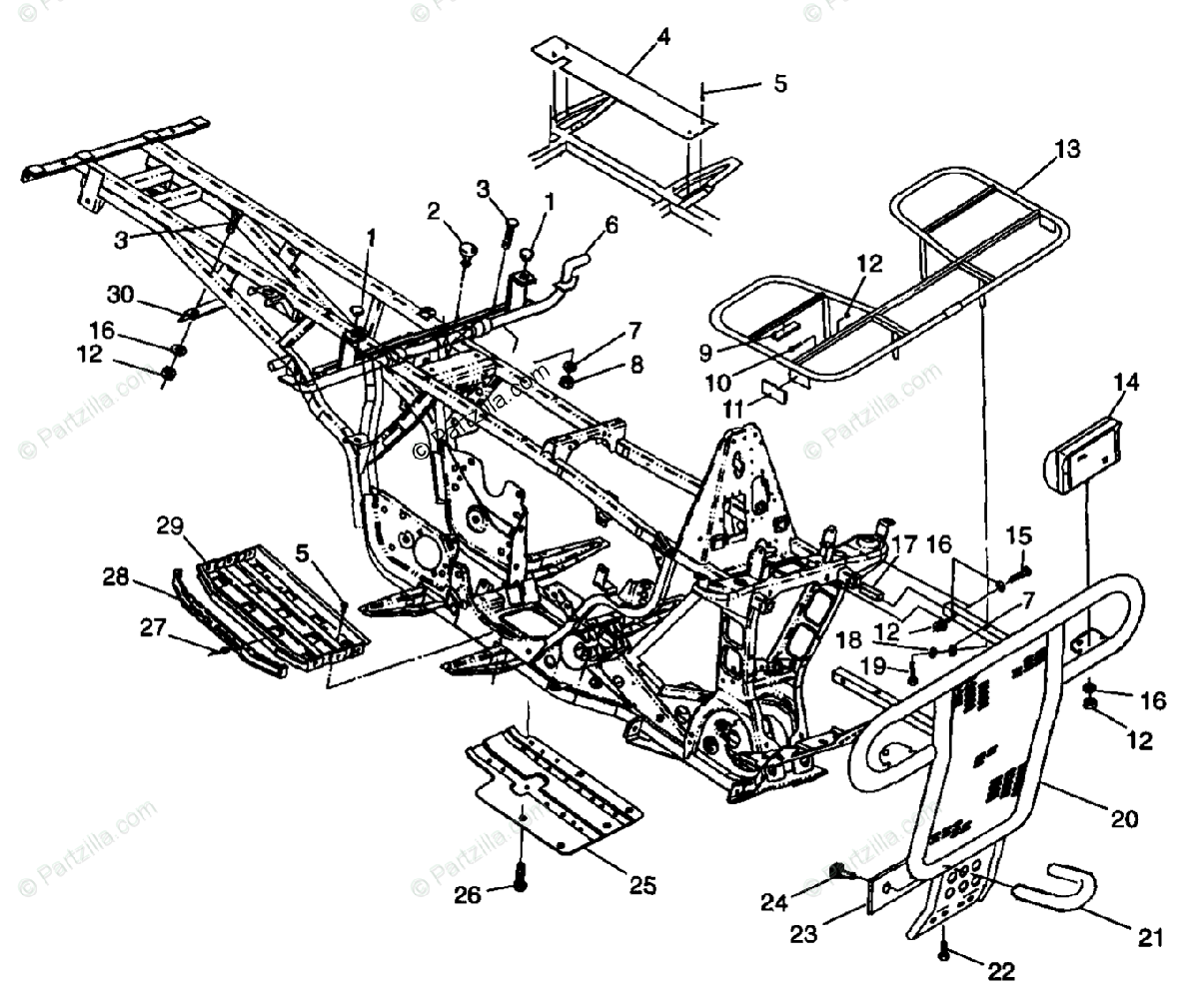 Polaris Atv Oem Parts Diagram For Bumper Rack