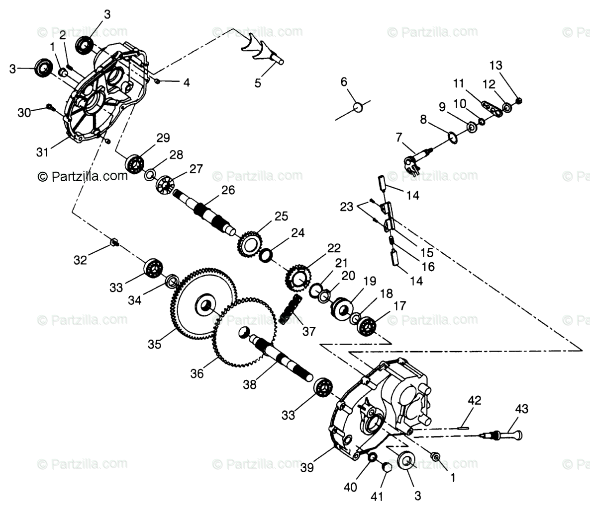 Polaris Atv Oem Parts Diagram For Gearcase Scrambler