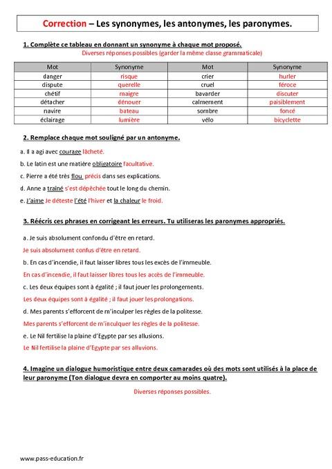 Antonymes Synonymes Et Paronymes Eme Controle Avec bdcb7134665