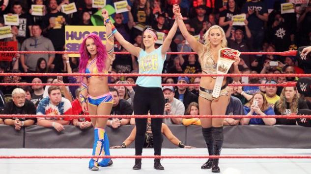Sasha Banks, Bayley, and (c) Charlotte Flair