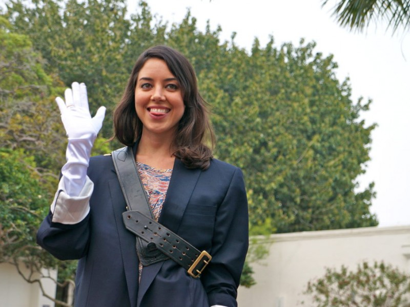 Parks & Rec's Aubrey Plaza 'Blesses' People On Golf Cart