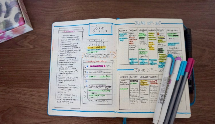 ...In contrast to June Weekly spread (ditched dailies)