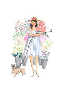 Illustrazione ragazza con cappello di paglia e cane al guinzaglio