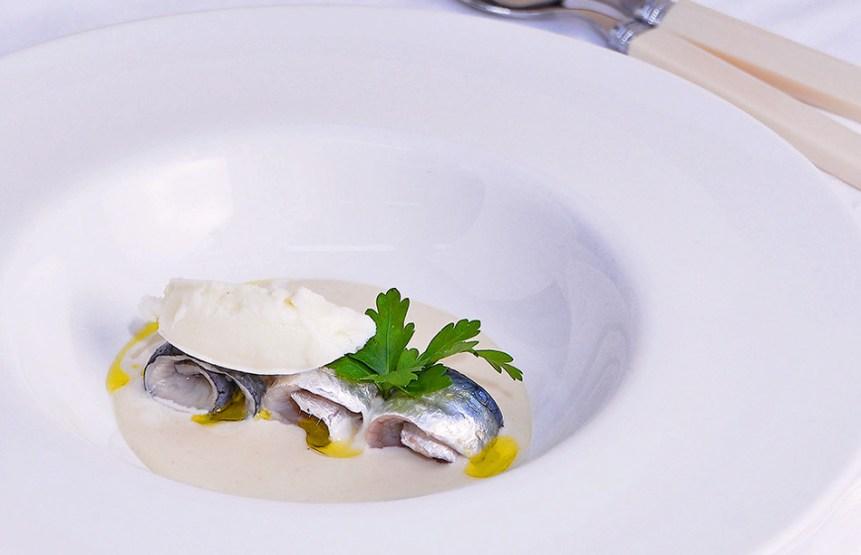 Mazamorra con sardine