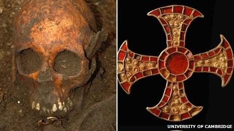 Anglo-Saxon girl's skull was found with symbols of Christianity with jewels.