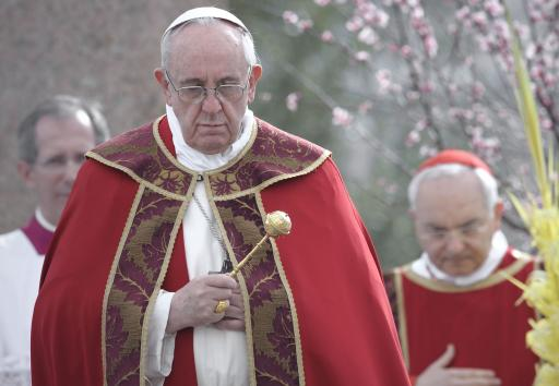 Pope Francis holds papal mass as part of the Palm Sunday celebration on St Peter's square at the Vatican. (File/UPI/Stefano Spaziani)