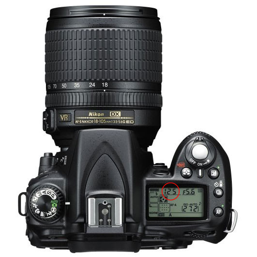 Nikon D90 Top Panel - Shutter Speed