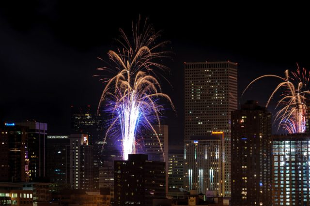 Once you learn how to photograph fireworks, it is time to explore the surroundings for better composition. Here, I photographed fireworks with buildings in Denver Downtown
