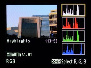 Camera screen RGB histogram
