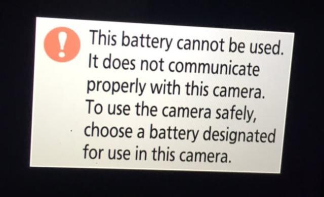 Nikon Z7 Third Party Battery Warning