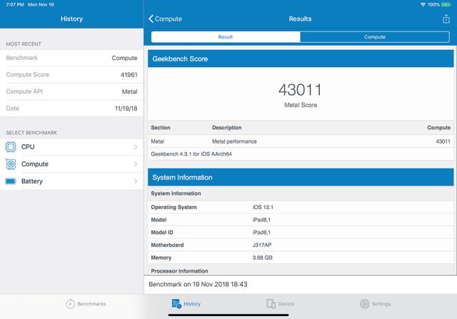 iPad Pro 2018 Geekbench 4 Compute Score